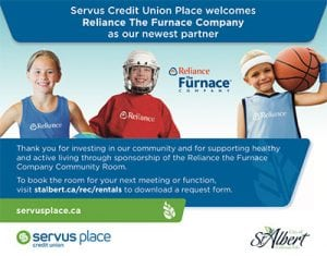 Supporting partner of Servus Credit Union in the city of St. Albert