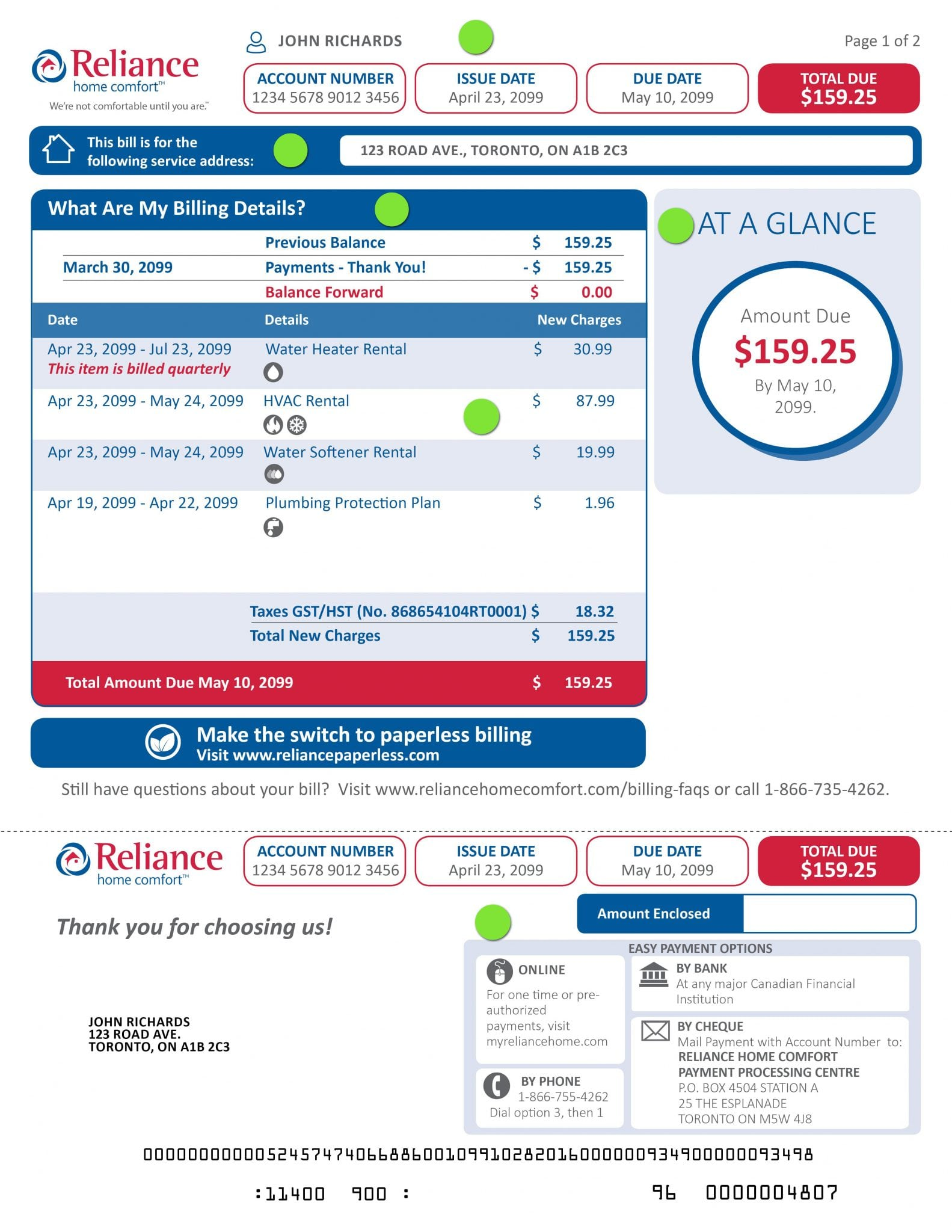 Reliance Furnace Bill
