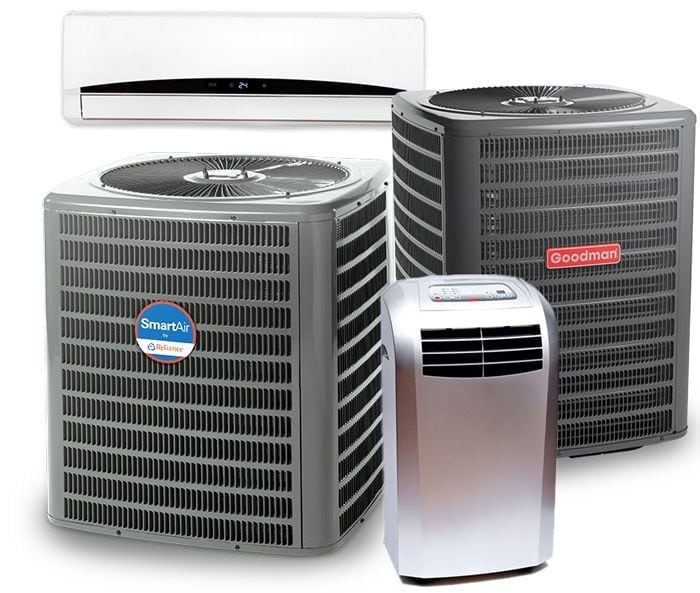 Portable AC, Ductless AC, and Central AC units