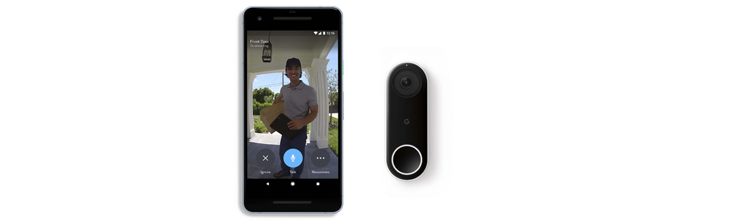 smiling delivery man at the door on Nest Hello Doorbell camera