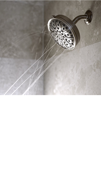 showerhead spraying water in every direction